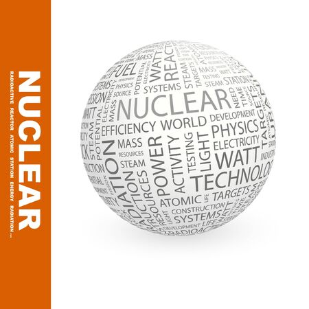 kilowatts: NUCLEAR. Globe with different association terms. Collage with word cloud. Stock Photo