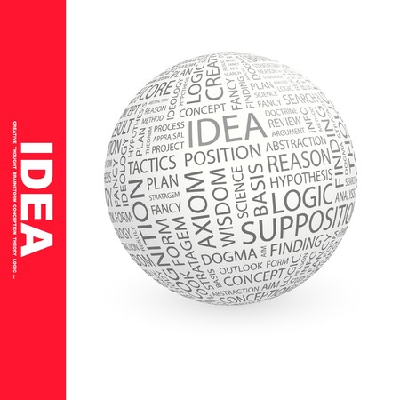 rationalism: IDEA. Globe with different association terms.