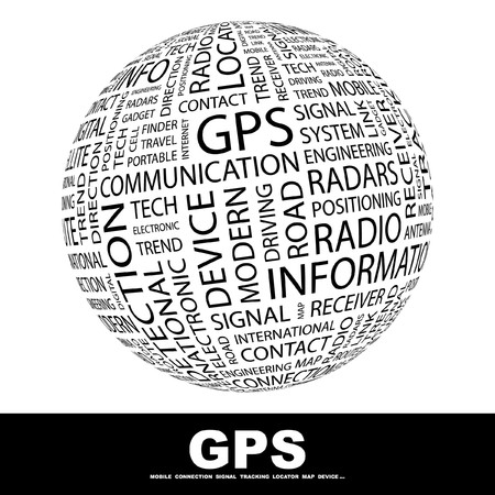 GPS. Globe with different association terms. Collage with word cloud. photo