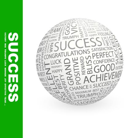 SUCCESS. Globe with different association terms. Collage with word cloud. Stock Photo - 7994925