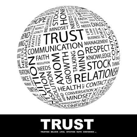 believe: TRUST. Globe with different association terms. Collage with word cloud.