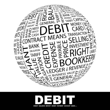 indebtedness: DEBIT. Globe with different association terms.