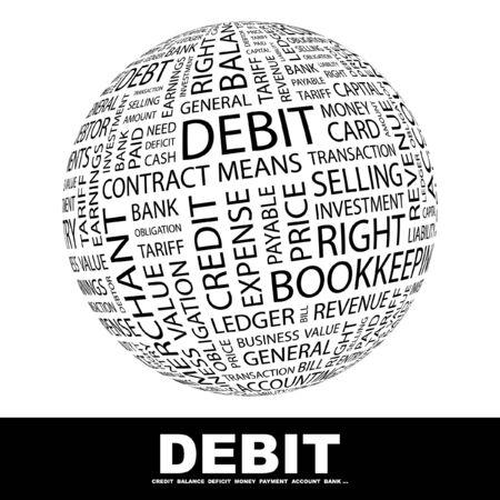ledger: DEBIT. Globe with different association terms.