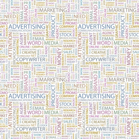 apprise: ADVERTISING. Seamless vector pattern with word cloud. Illustration with different association terms.