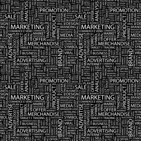 MARKETING. Seamless background. Wordcloud illustration. illustration