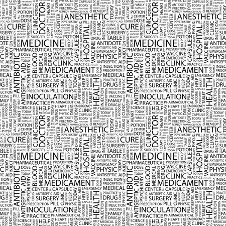 nursing associations: MEDICINE. Seamless background. Wordcloud illustration. Stock Photo
