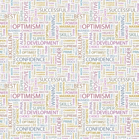 matchless: OPTIMISM. Seamless background. Wordcloud illustration.   Stock Photo
