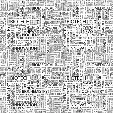 bioscience: BIOTECH. Seamless pattern with word cloud.