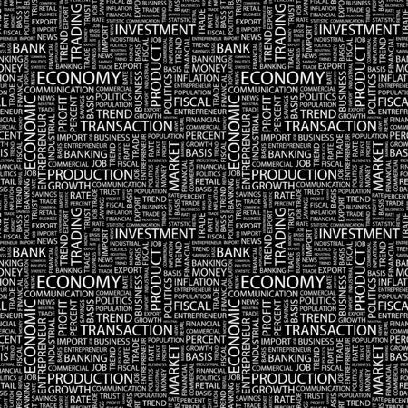 ECONOMY. Seamless background. Wordcloud illustration. Stock Illustration - 7980833