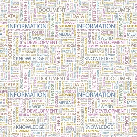 INFORMATION. Seamless background. Wordcloud illustration.   illustration