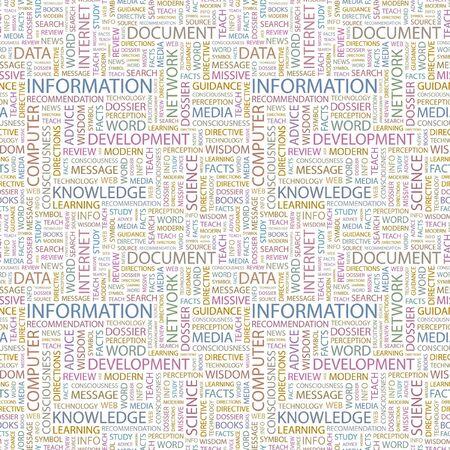 INFORMATION. Seamless background. Wordcloud illustration.   illustration