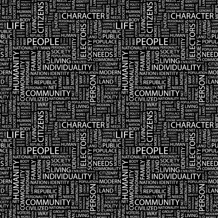 commonality: PEOPLE. Seamless pattern with word cloud.