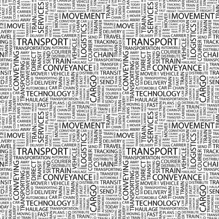 TRANSPORT. Seamless pattern with word cloud.  Illustration with different association terms.  illustration