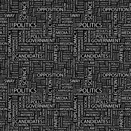 predominance: POLITICS. Seamless pattern with word cloud. Illustration with different association terms.