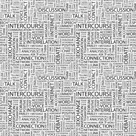 INTERCOURSE. Seamless pattern with word cloud. Illustration with different association terms. illustration