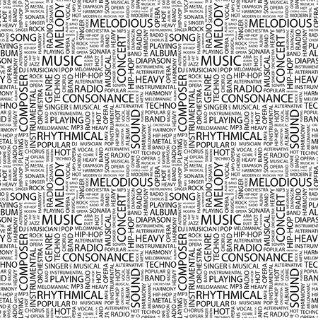 diapason: MUSIC. Seamless pattern with word cloud. Illustration with different association terms. Stock Photo