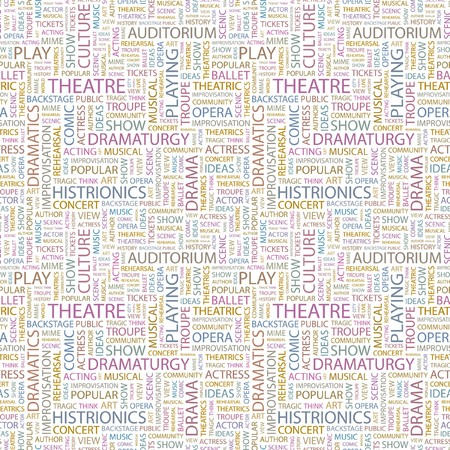 theatrics: THEATRE. Seamless pattern with word cloud. Illustration with different association terms.