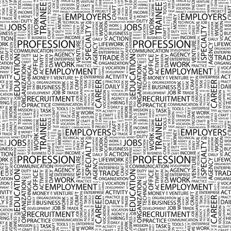 lifework: PROFESSION. Seamless pattern with word cloud. Illustration with different association terms.