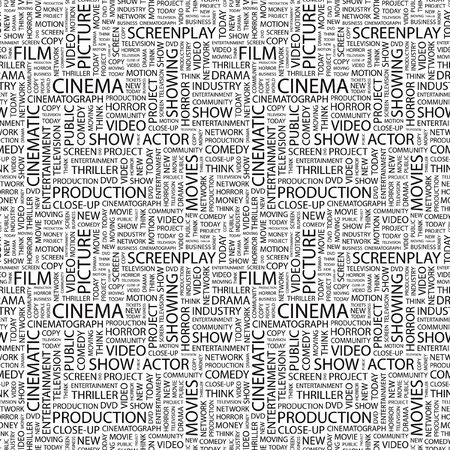 CINEMA. Seamless pattern with word cloud. Illustration with different association terms.