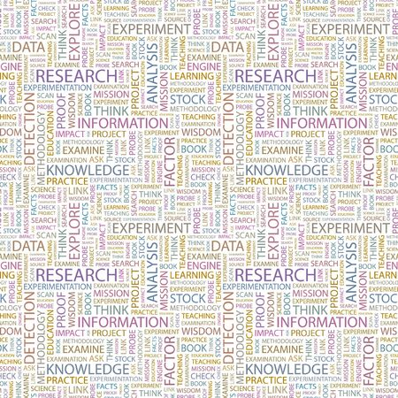 RESEARCH. Seamless pattern with word cloud. Illustration with different association terms. illustration