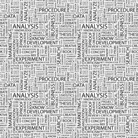 critique: ANALYSIS. Seamless pattern with word cloud. Illustration with different association terms. Stock Photo