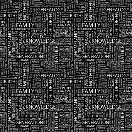 kindred: FAMILY. Seamless pattern with word cloud. Illustration with different association terms. Stock Photo