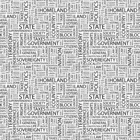 citizenry: STATE. Seamless pattern with word cloud. Illustration with different association terms.