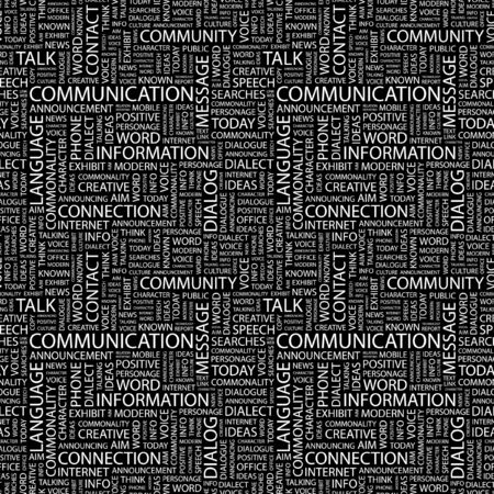 advisement: COMMUNICATION. Seamless pattern with word cloud. Illustration with different association terms. Stock Photo