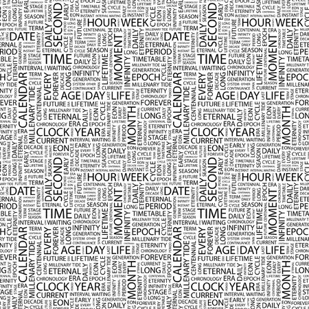 span: TIME. Seamless pattern with word cloud. Illustration with different association terms. Stock Photo