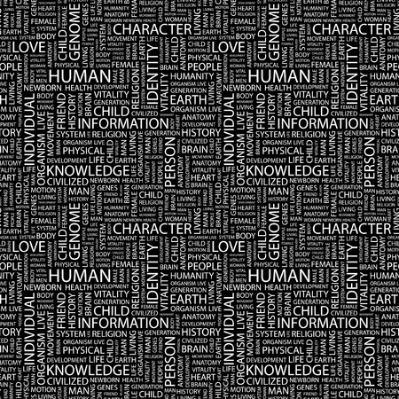 HUMAN. Seamless pattern with word cloud. Illustration with different association terms. illustration