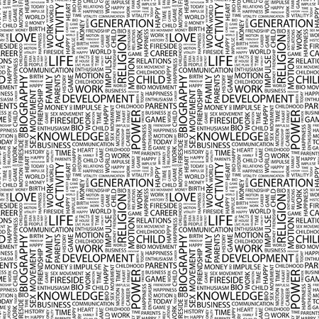 LIFE. Seamless pattern with word cloud. Illustration with different association terms. illustration