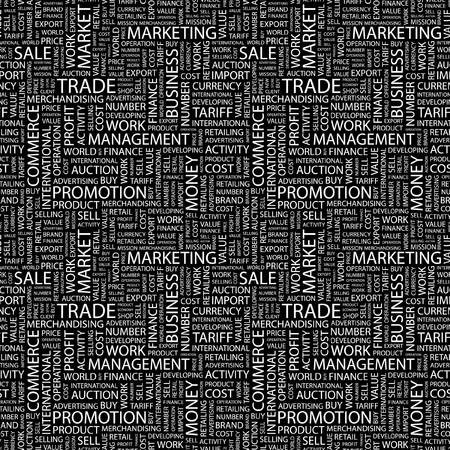 TRADE. Seamless pattern with word cloud. Illustration with different association terms. illustration