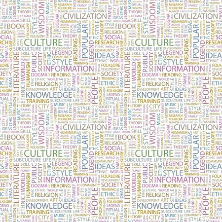 CULTURE. Seamless pattern with word cloud. Illustration with different association terms. illustration