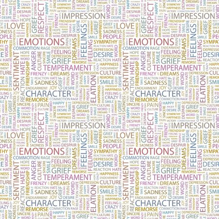 commotion: EMOTIONS. Seamless pattern with word cloud. Illustration with different association terms. Stock Photo