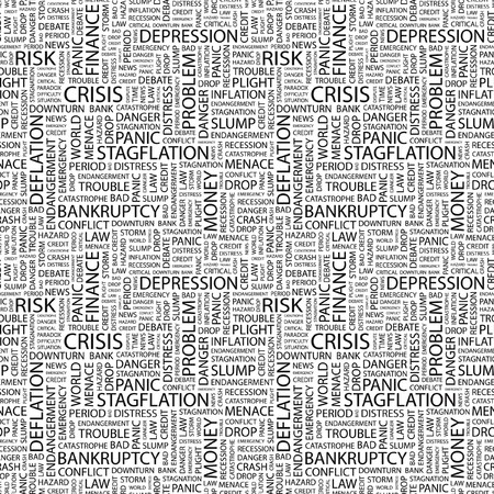 endangerment: CRISIS. Seamless pattern with word cloud. Illustration with different association terms.