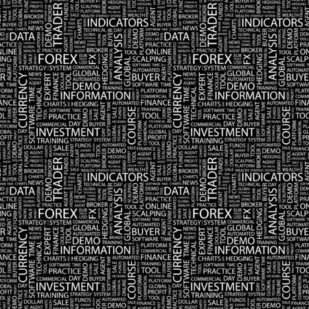 hedging: FOREX. Seamless pattern with word cloud. Illustration with different association terms.