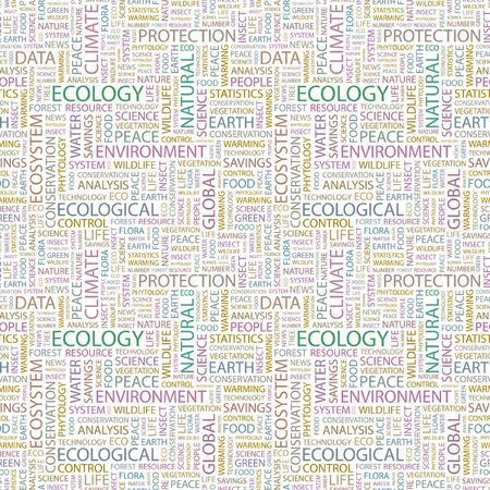 phytology: ECOLOGY. Seamless pattern with word cloud. Illustration with different association terms.
