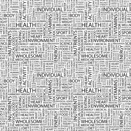 HEALTH. Seamless pattern with word cloud. Illustration with different association terms. Stock Illustration - 7991591