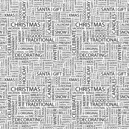CHRISTMAS. Seamless pattern with word cloud. Illustration with different association terms. illustration