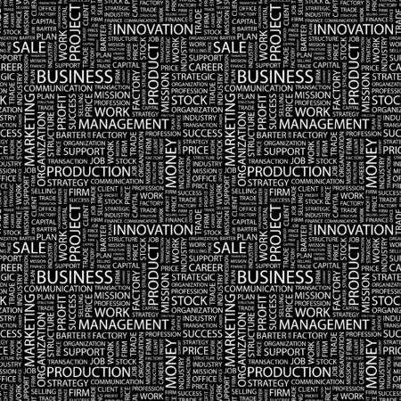BUSINESS. Seamless pattern with word cloud. Illustration with different association terms. Stock Illustration - 7991630