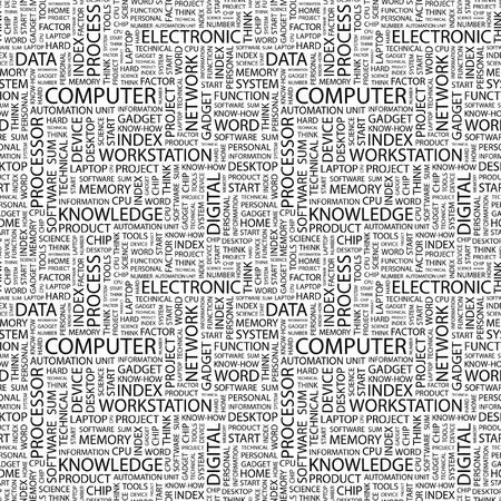 COMPUTER. Seamless pattern with word cloud. Illustration with different association terms. illustration