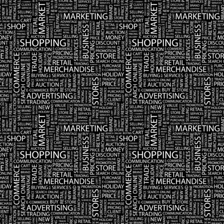 SHOPPING. Seamless pattern with word cloud. Illustration with different association terms. illustration
