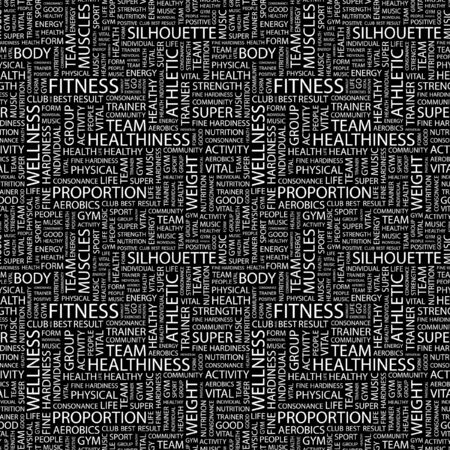 hardiness: FITNESS. Seamless pattern with word cloud. Illustration with different association terms.