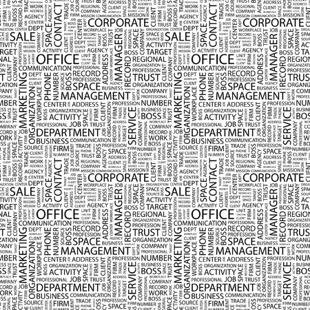 OFFICE. Seamless pattern with word cloud. Illustration with different association terms. Stock Illustration - 7991646