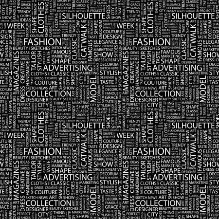 FASHION. Seamless background. Wordcloud illustration.