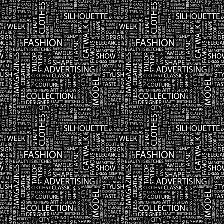fashion catwalk: FASHION. Seamless background. Wordcloud illustration.