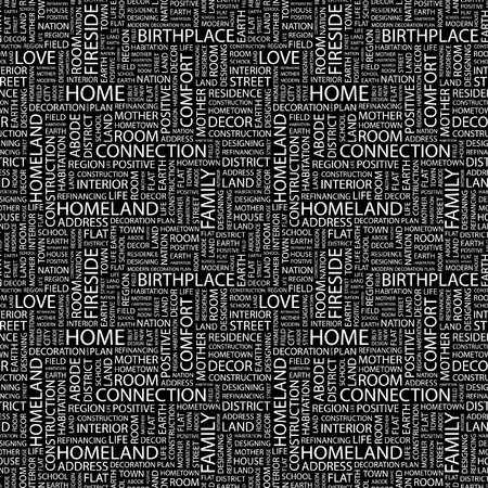 HOME. Seamless pattern with word cloud. Illustration with different association terms. Stock Illustration - 7991647