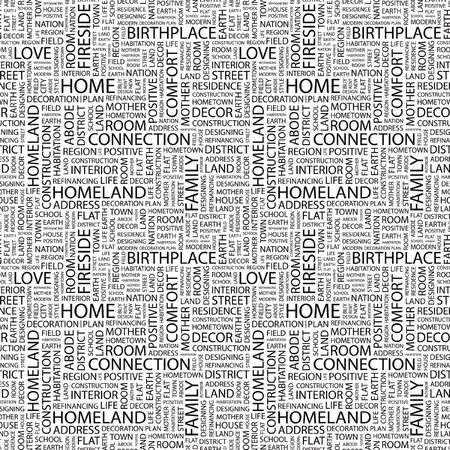 HOME. Seamless background. Wordcloud illustration.   illustration