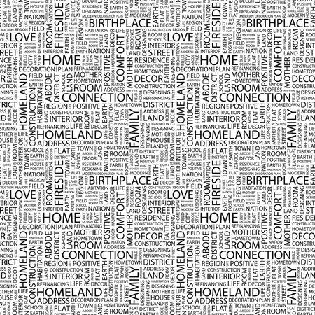 HOME. Seamless background. Wordcloud illustration. Stock Illustration - 8239021