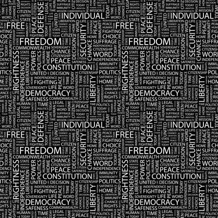 rightness: FREEDOM. Seamless background. Wordcloud illustration.